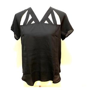 Grayson Threads Black Blouse with Cut Outs